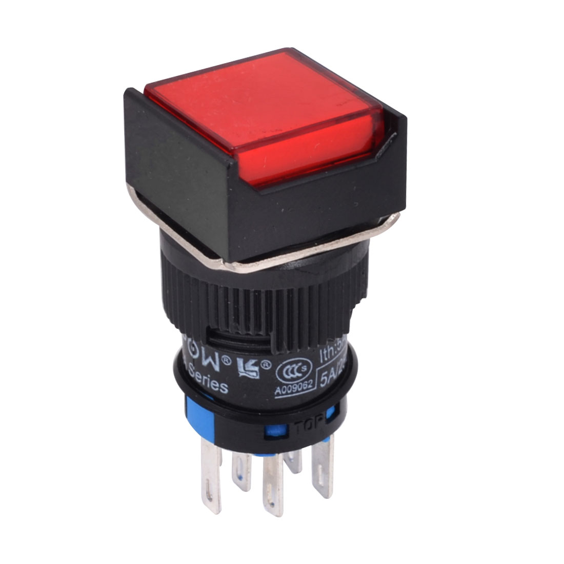 DPDT 8Pins 16mm Thread Red Square Head Momentary Push Button Switch