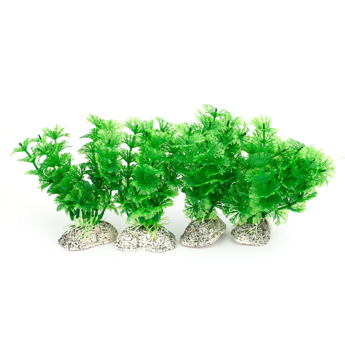 "5.5"" Height Aquarium Tanks Aquascaping Green Plastic Decorative Water Plant 4Pcs"