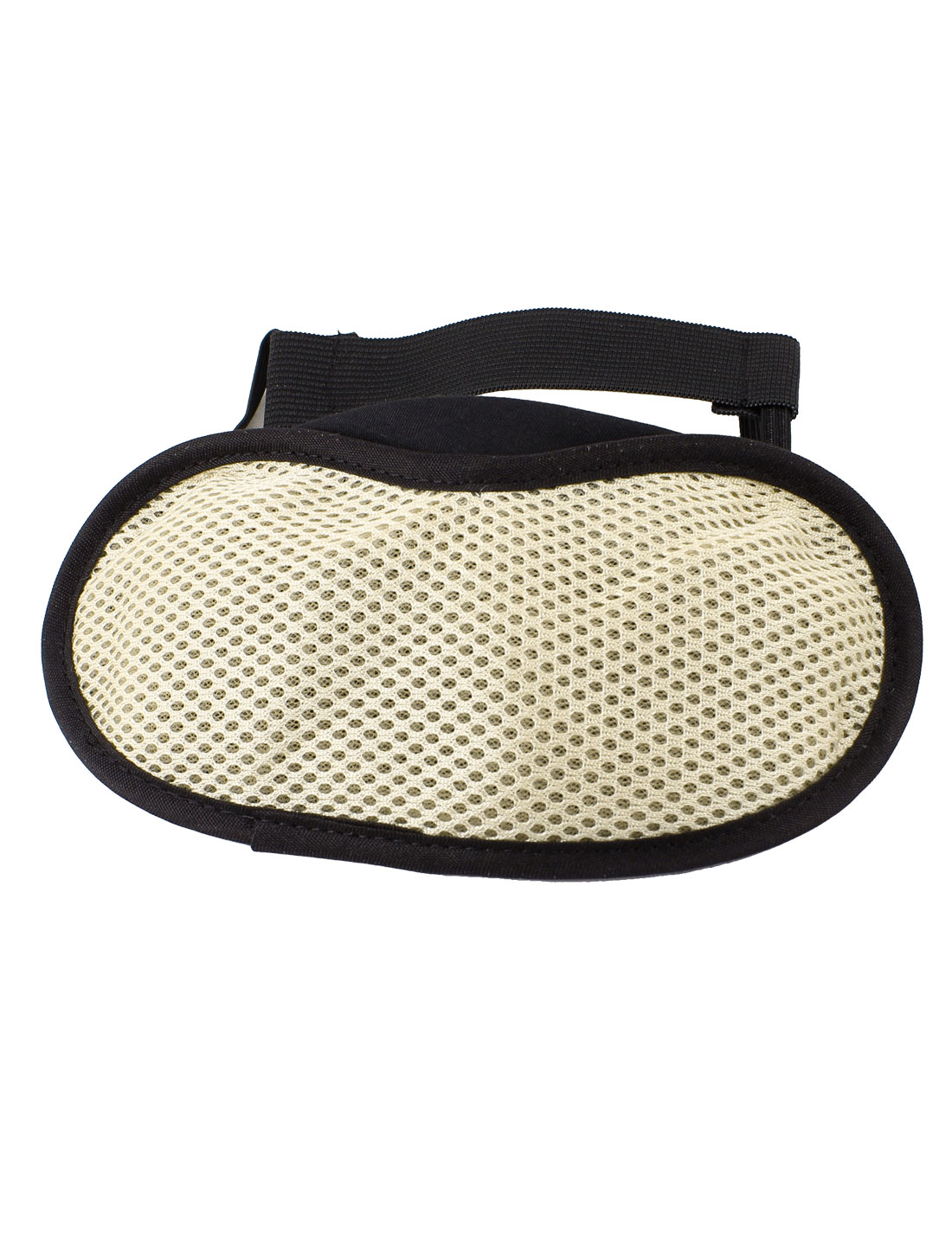 Beige Black Meshy Surface Double Stretchy Strap Eye Mask Eyeshade Sleep Cover
