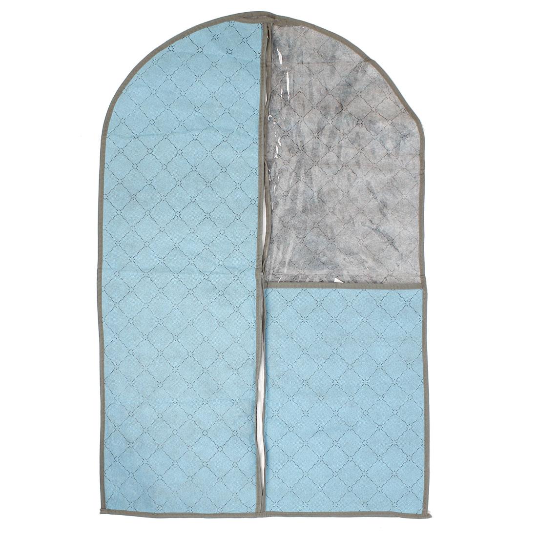 Blue Grid Print Dustproof Dress Garment Suit Cover Protector Bag for Home