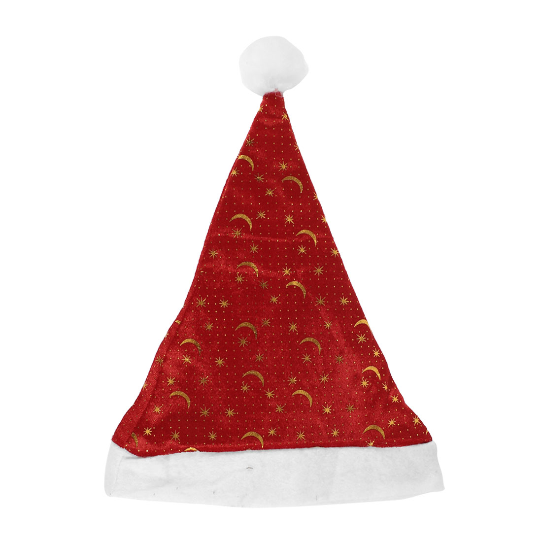 Christmas Gold Tone Star Moon Pattern Red Velvet Xmas Santa Claus Hat