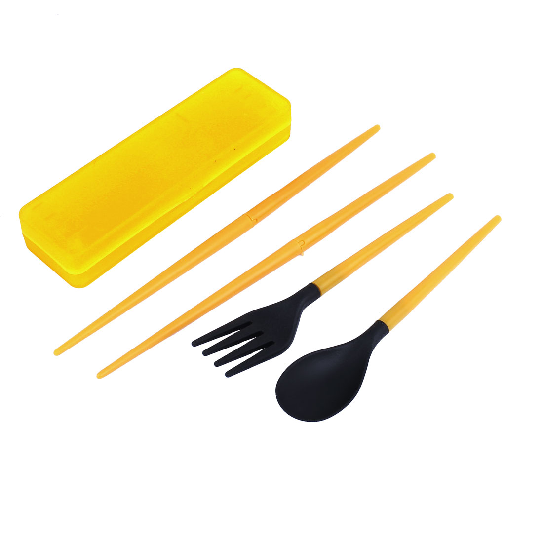Cutlery Set Plastic Tableware Travel Fork Spoon Chopstick Orange 3 in 1