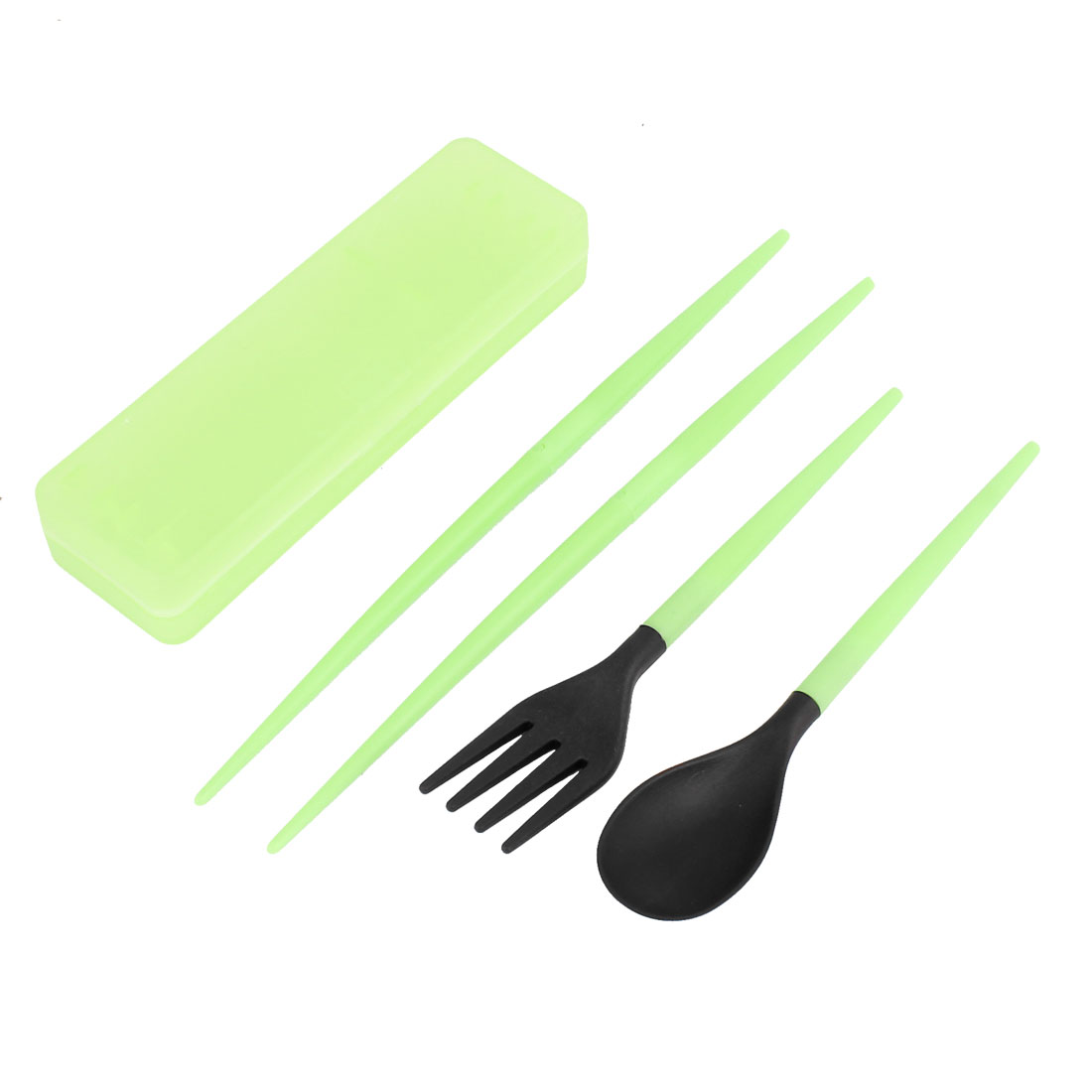Green Case Plastic Detachable Spoon Fork Chopsticks Dinnerware 3 in 1 Set