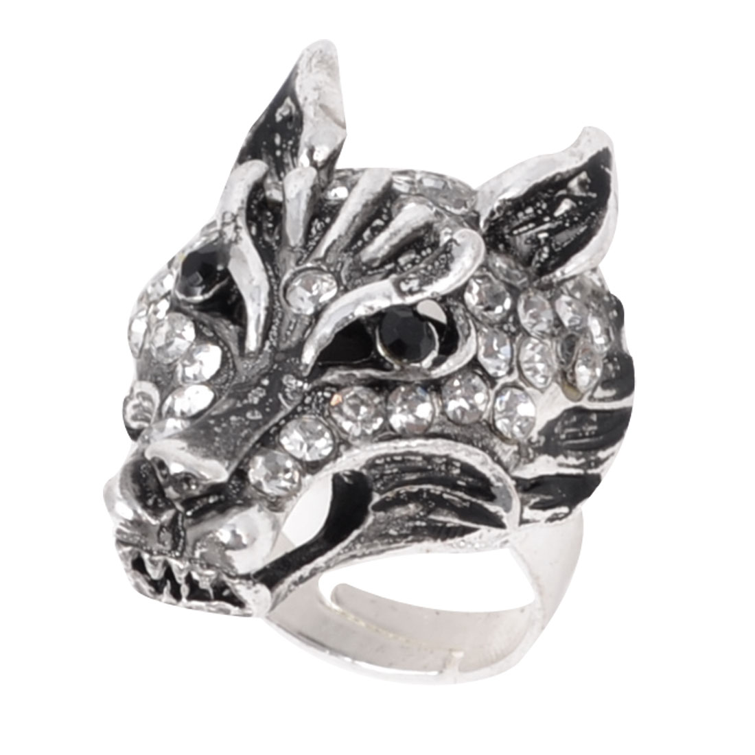 Ladies Black White Rhinestone Decor Silver Tone Wolf Finger Ring US 6 1/2