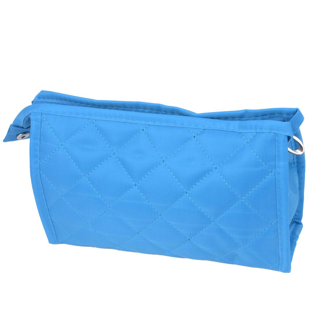 Ladies Zipper Closure Blue Nlylon Material Cosmetic Organizer w Mirror