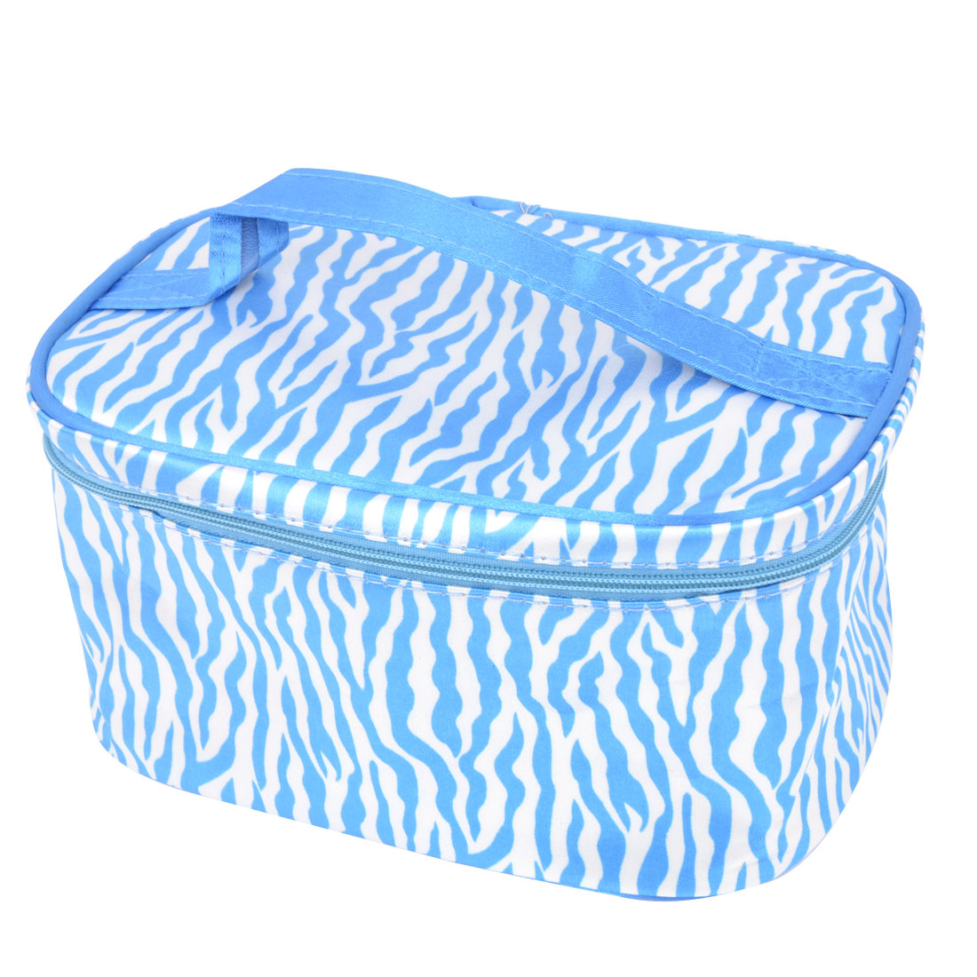 Blue White Zebra Pattern Zipper Closure Cosmetic Storage Bag for Women