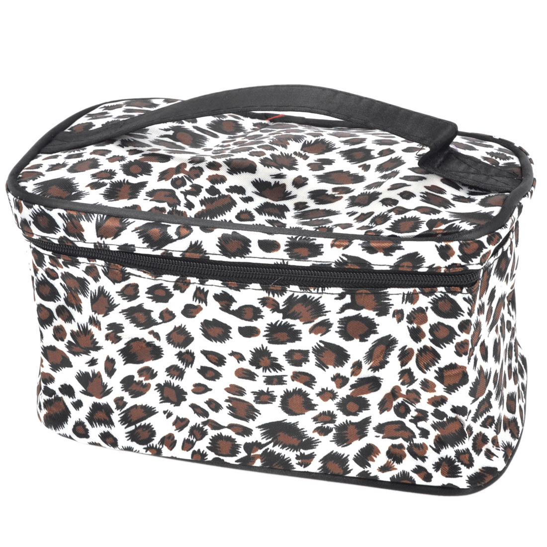 Women Leopard Printed Zipper Clsure Comestic Container White Brown Black