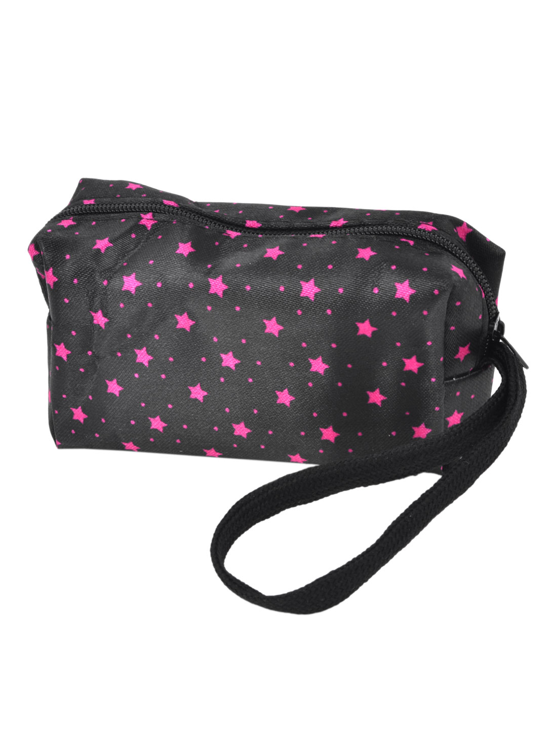 Fuchsia Star Pattern Black Nylon Change Wallet Coin Purse Pouch w Strap for Lady