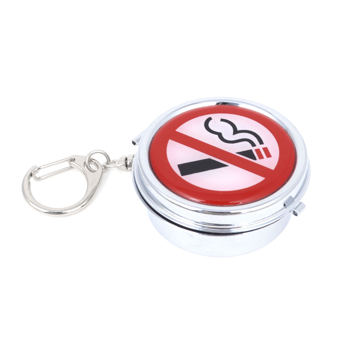 Portable Round Mini Stainless Steel Ashtray w Keychain