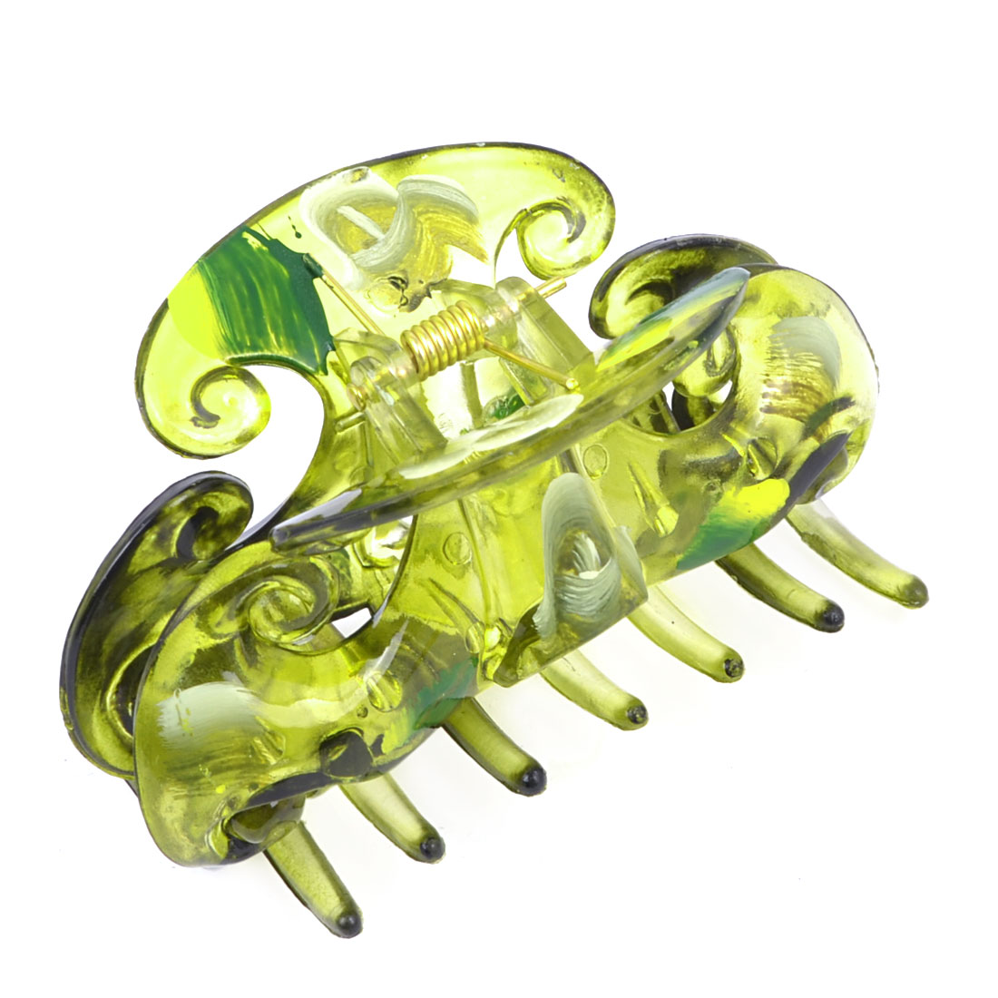 Lady Spring Loaded Clear Olive Green Plastic Moon Shape Hair Claw Clip