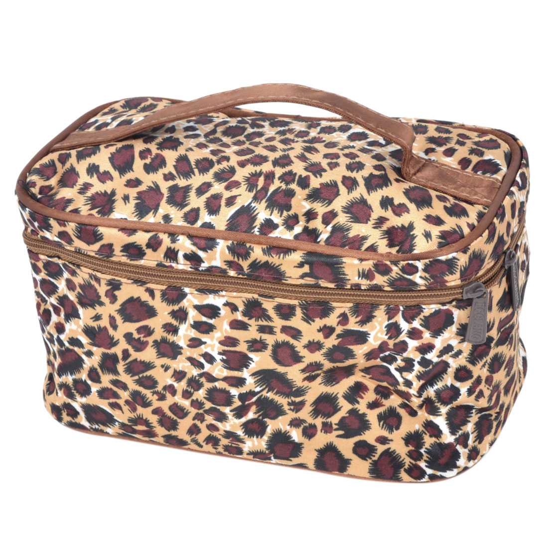 Women Brown Black Leopard Print Dual Zipper Closure Cosmetic Pouch w Mirror