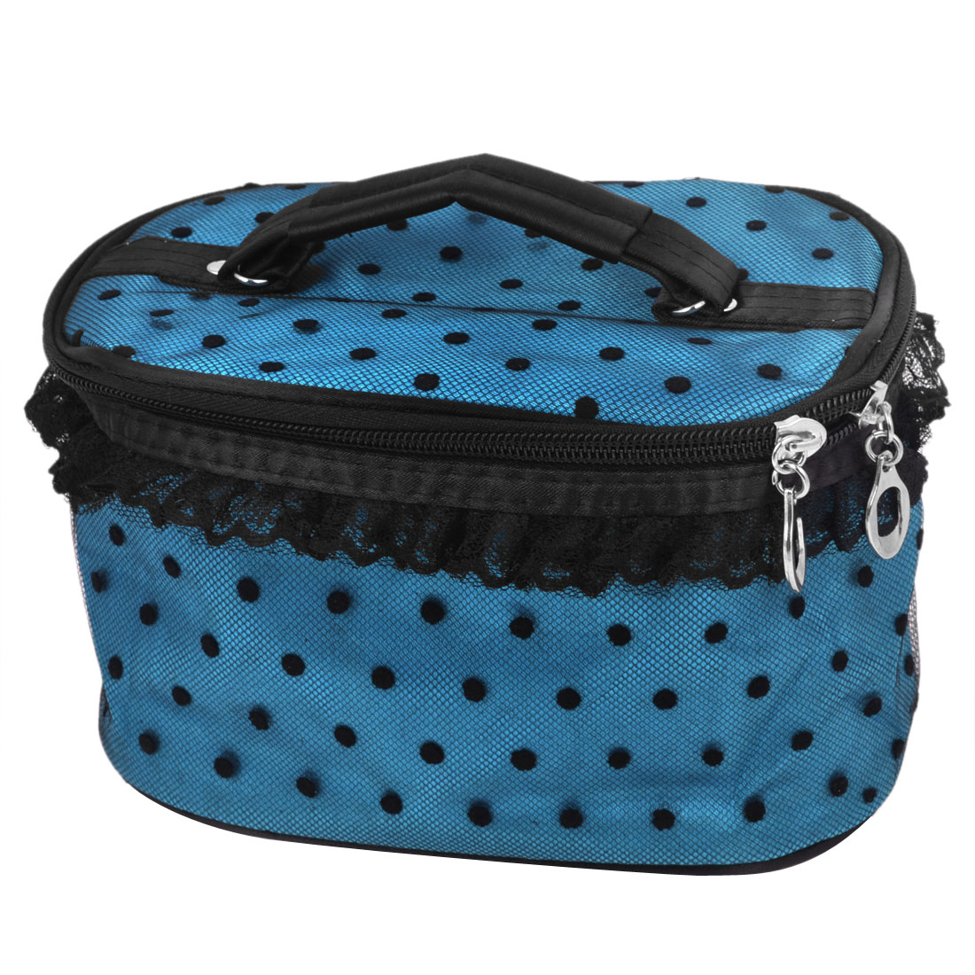 Black Dotted Teal Blue Make Up Cosmetic Bag Organizer w Mirror