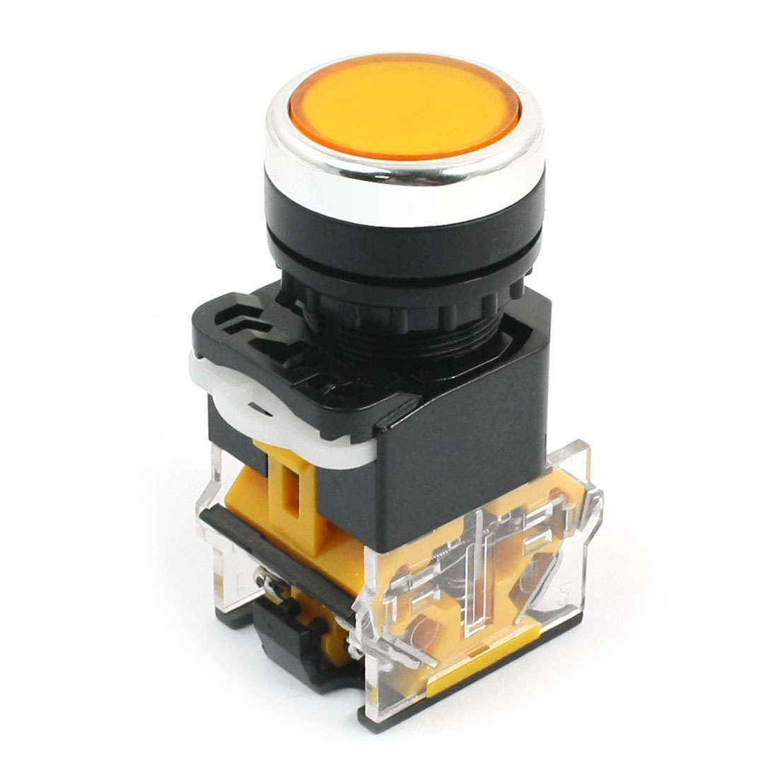 Yellow Locking DPST 4-Screw Terminals Push Button Switch 10A 380V
