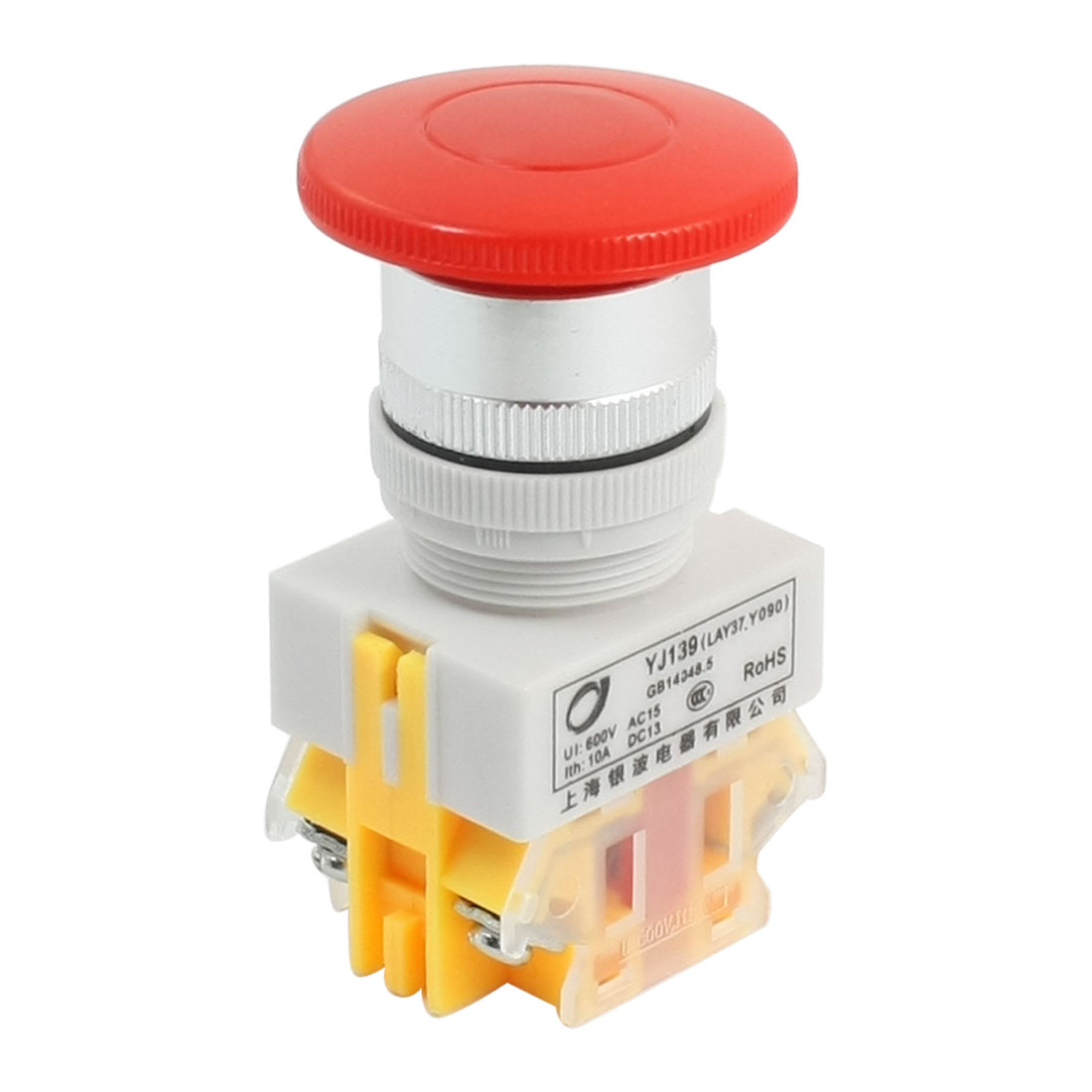 DPST 24mm Mount Momentary Red Mushroom Push Button Switch 600VAC 10A
