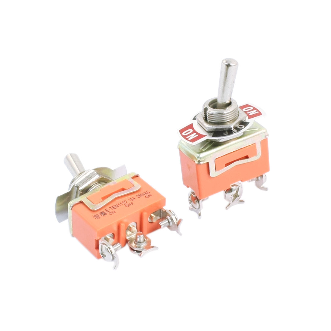 2pcs Latching SPDT 3 Positions ON/OFF/ON 3-Terminals Toggle Switch AC250V 15A