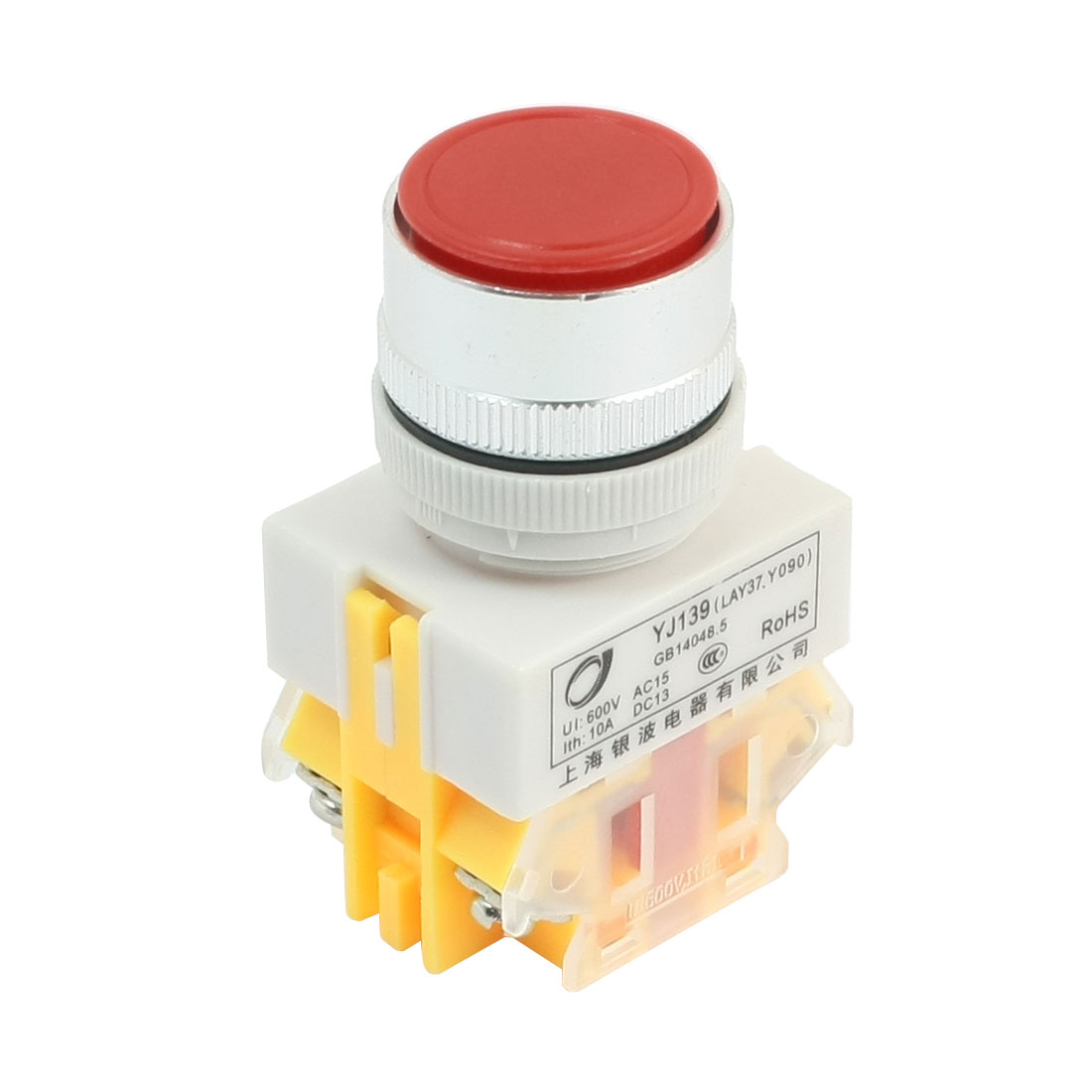 600V 10A NO/NC 4 Terminals 24mm Dia Red Momentary Pushbutton Switch