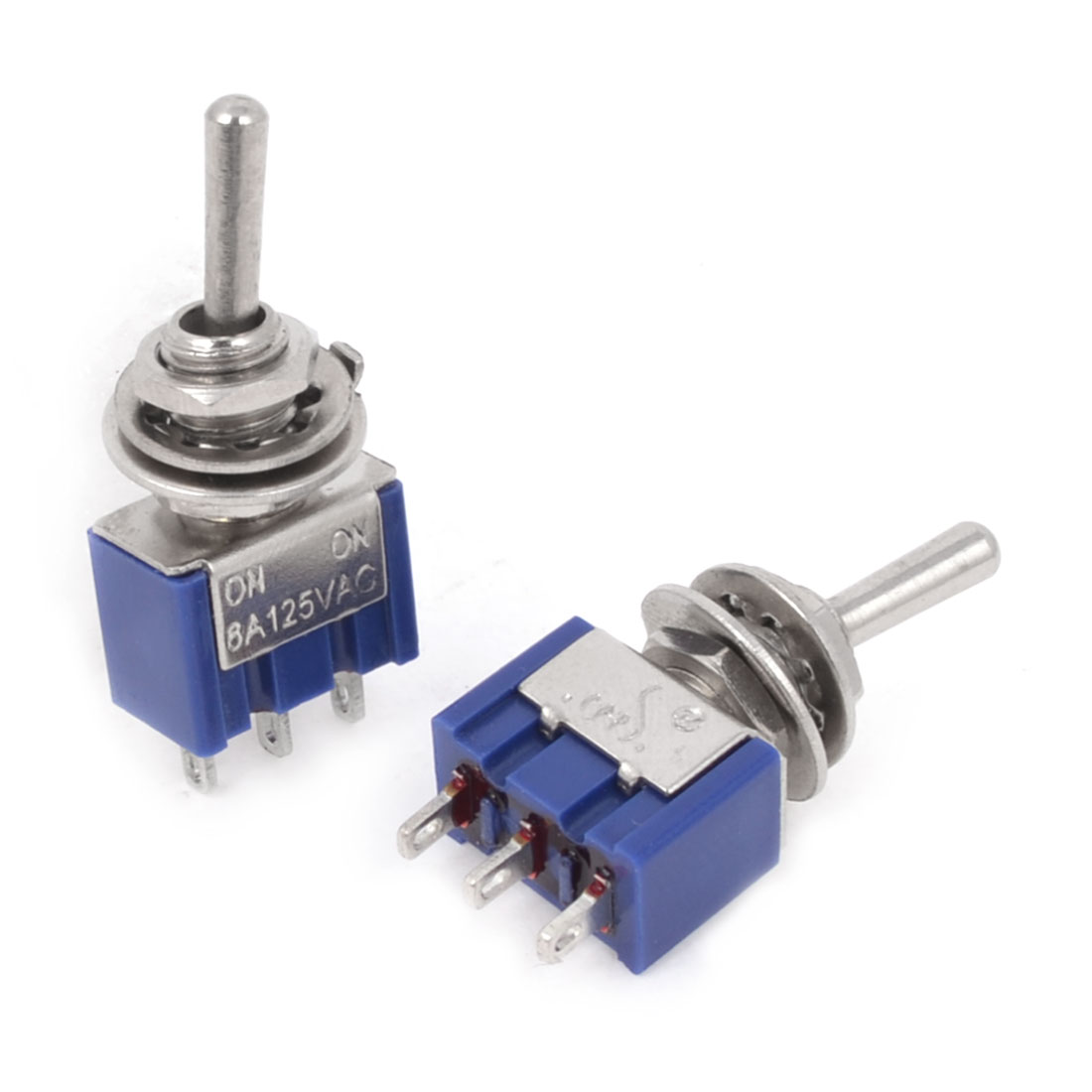 2 Pcs 2 Positions 3-Pin SPDT ON-ON Blue Mini Toggle Switch 6A AC 125V