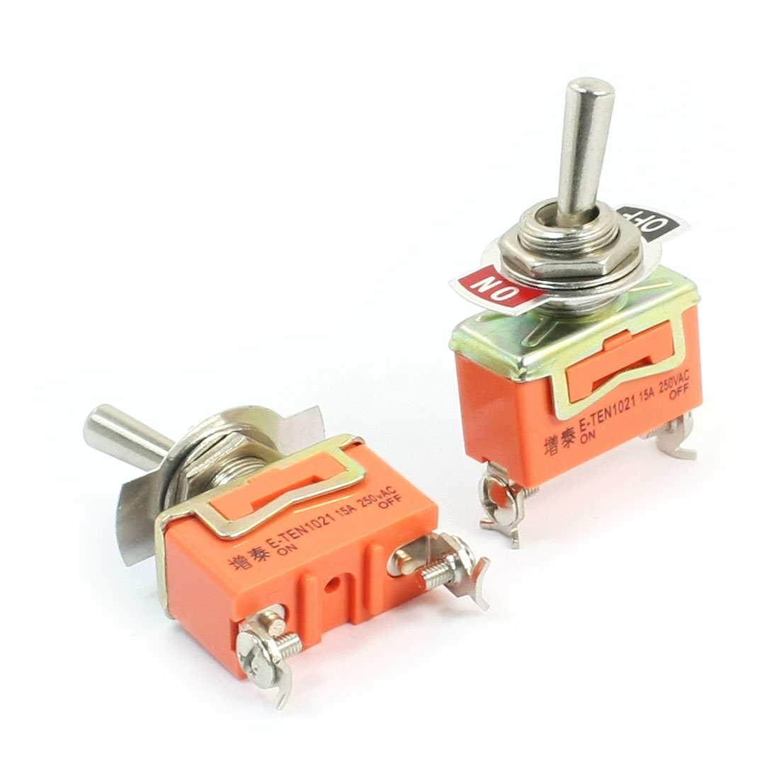 2Pcs AC 250V 15A 1P1T 2 Positions Power Control Toggle Switch for Auto Motor