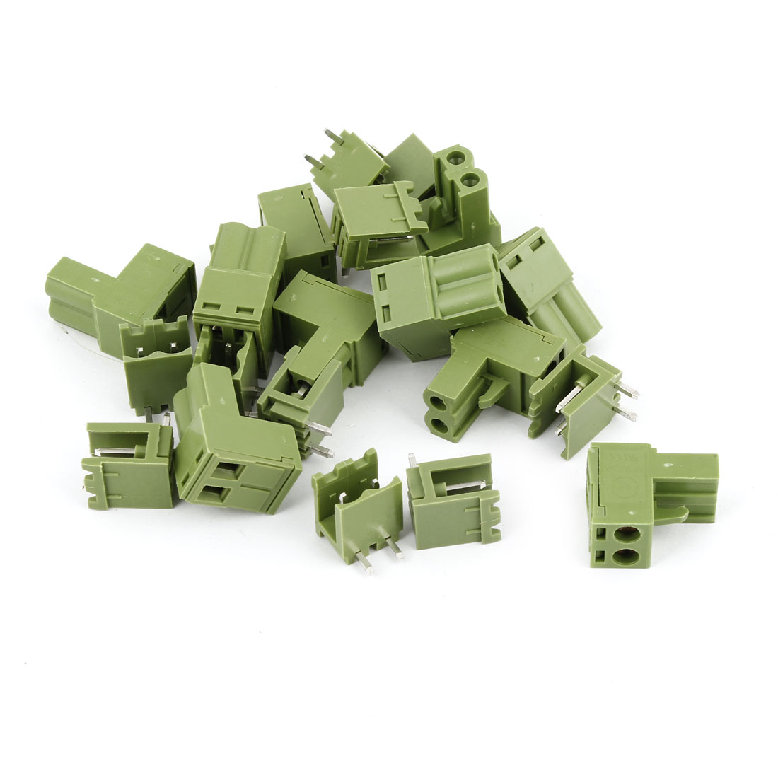 10 Pcs Army Green 300V 10A 5.08mm Pitch 2P Way Printed Circuit Board PBC Screw Terminal Barrier Block Connector