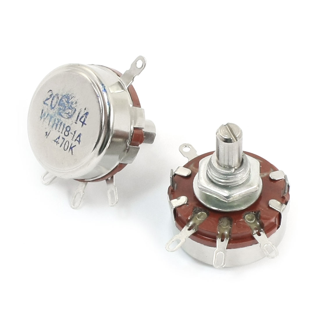 2pcs WTH118-1A 470K Ohm 20% 2W Rotary Carbon Film Potentiometer