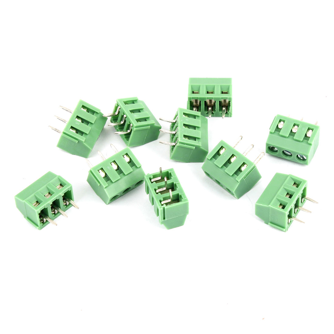 10Pcs 300V 10A 3.81mm Pitch 3 Poles Pins PCB Screw Terminal Block Connector Male Green