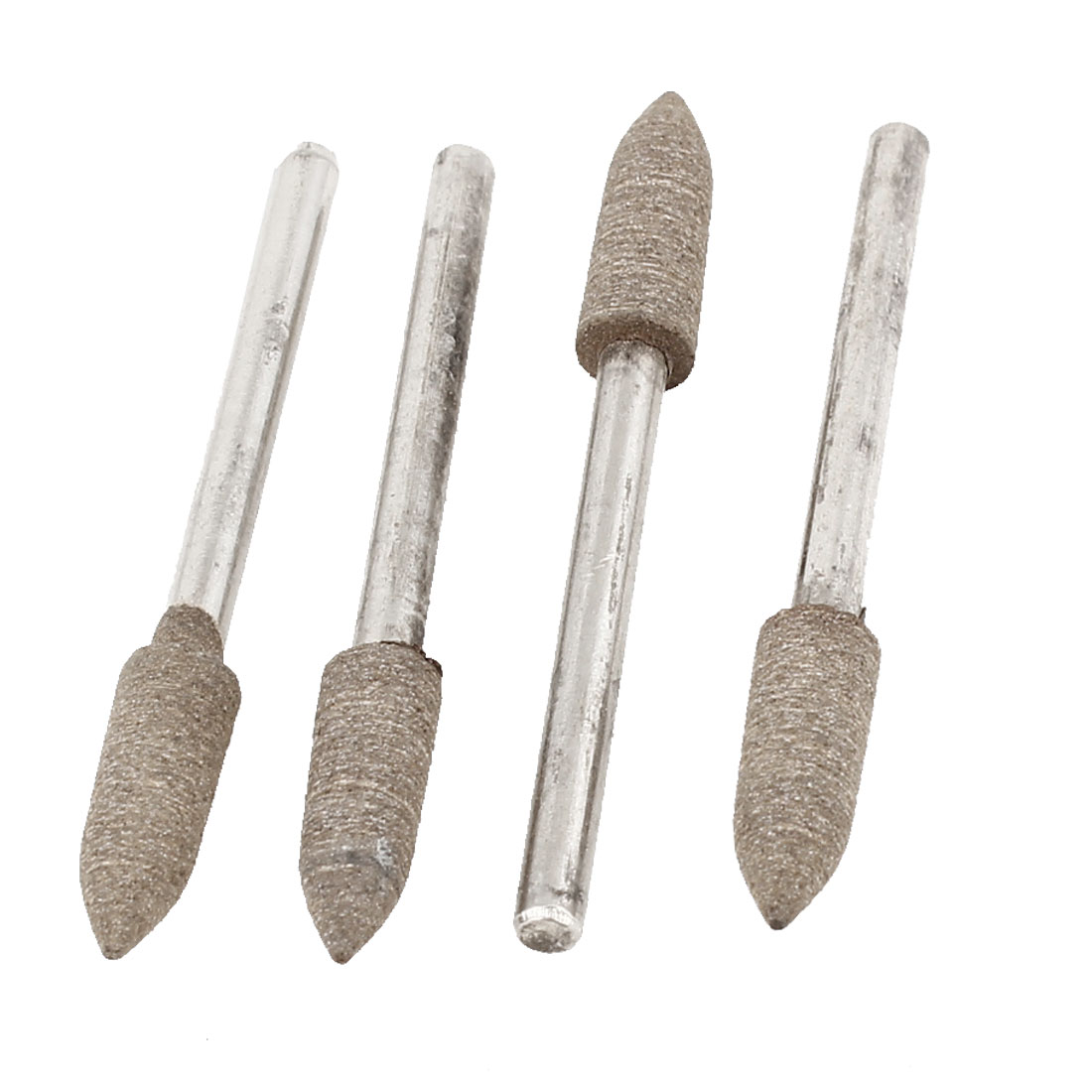 4 Pcs Silver Tone Alloy Shank Dark Khaki Cone Shaped Tip Mounted Grinding Point Abrasive Sanding Sharpening Tool 3mmx5mmx15mm