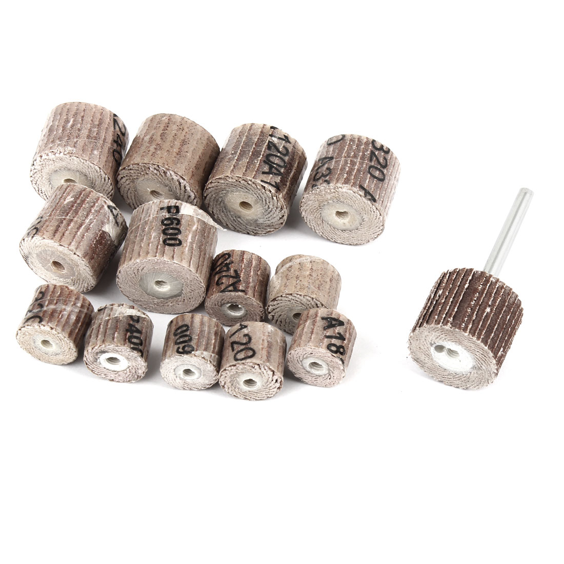 14 in 1 Emery Cloth 7 Types Cylindrical Shape Grit Grinding Flap Wheel Brushes