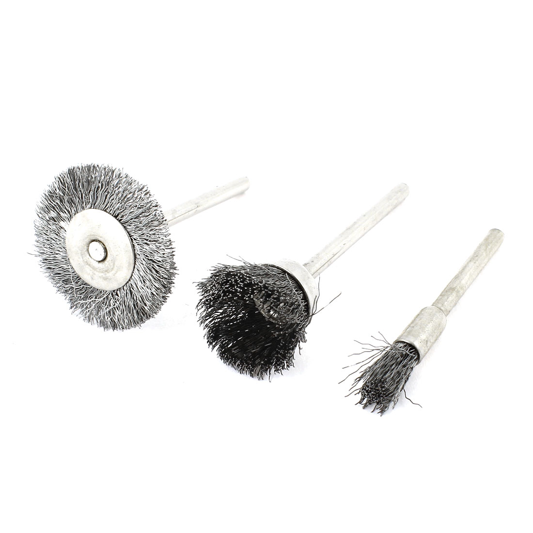 Metal 3mm Shank Silver Gray Steel Wire Polishing Brush Wheel 3 in 1