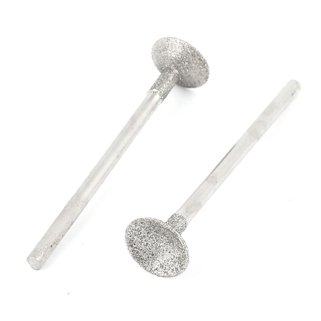 Silver Tone Metallic Shank Round Shaped T Head Diamond Mounted Point Grinder Buffing Bit Tool 3mm x 10mm 2 Pcs