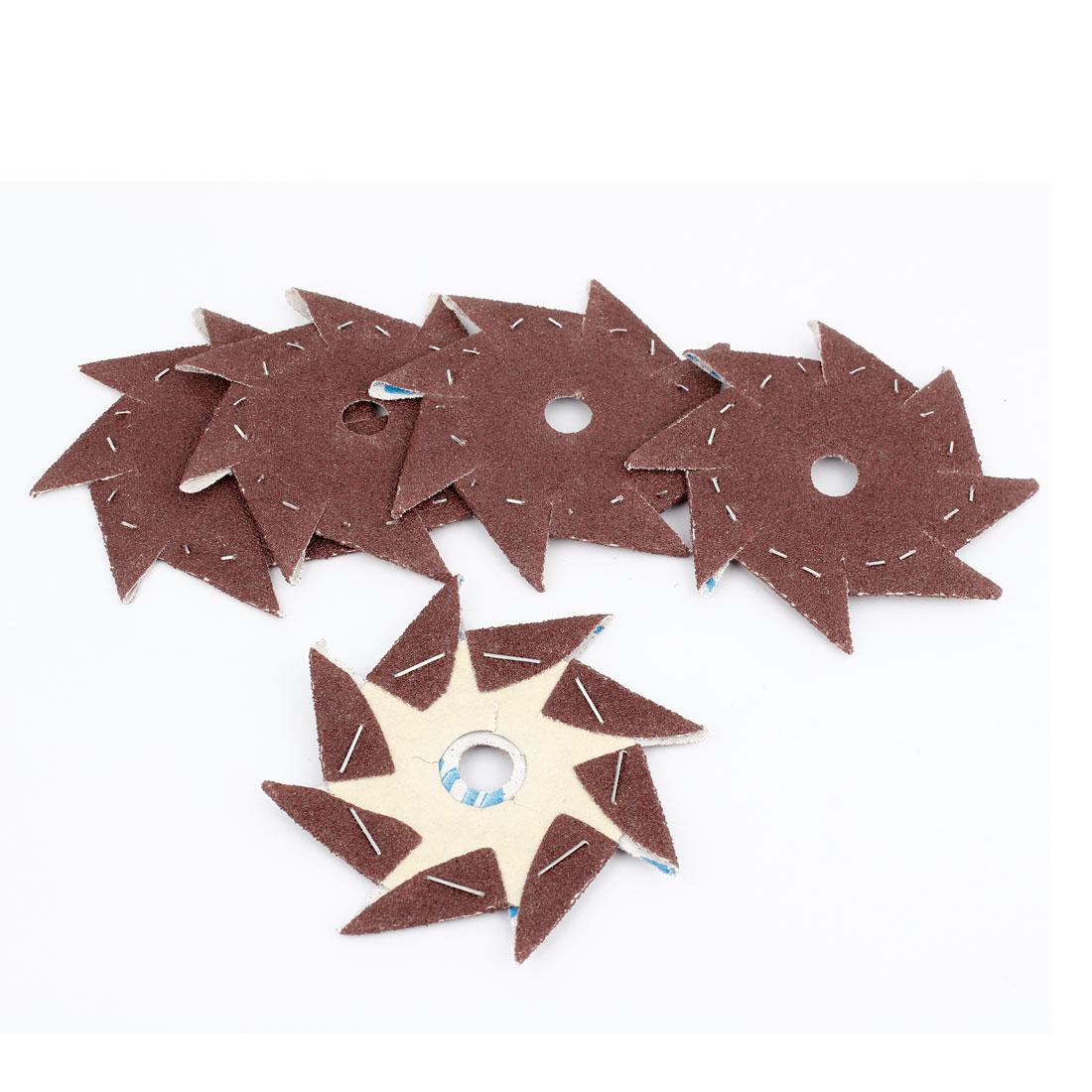 5 Pcs Pinwheel Shaped 80 Grit Waterproof Abrasive Sandpaper Sheet Dark Brown