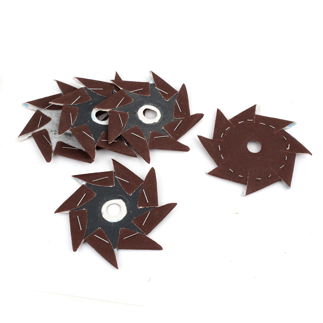 5 Pcs Pinwheel Shaped 150 Grit Waterproof Abrasive Sandpaper Sheet Dark Brown