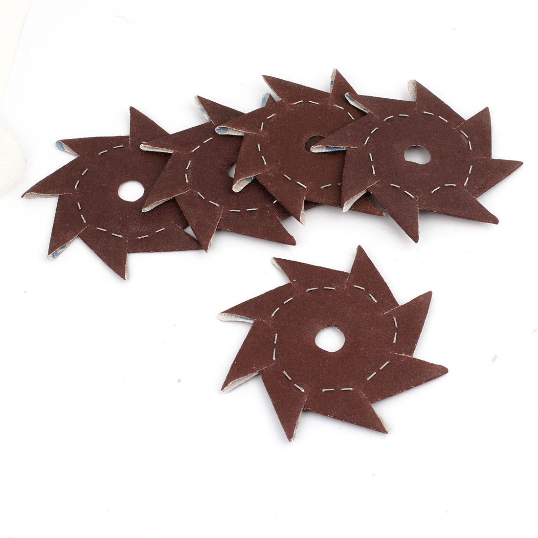 5 Pcs Pinwheel Shaped 180 Grit Abrasive Sandpaper Sheet Dark Brown