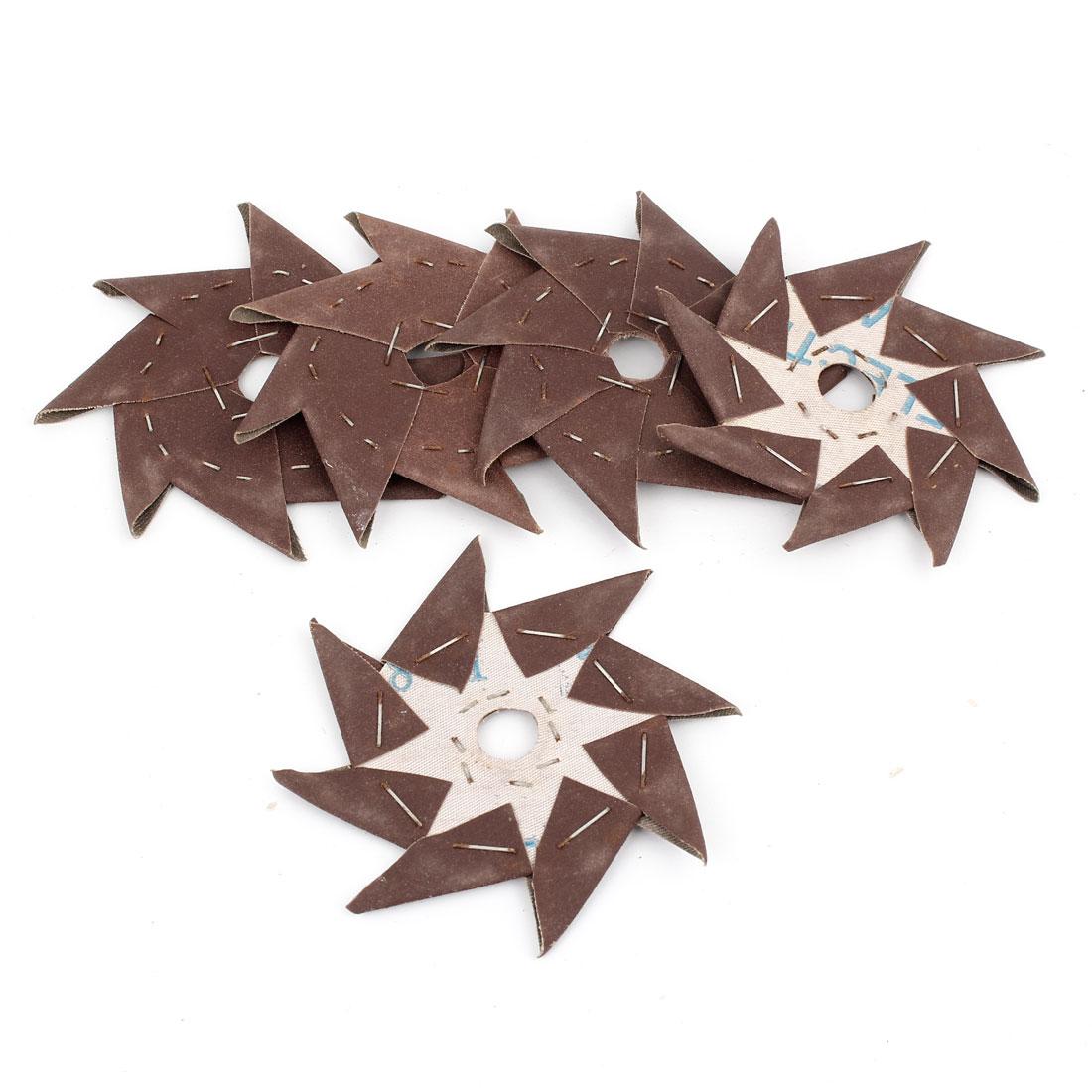 5 Pcs Pinwheel Shaped 240 Grit Abrasive Sandpaper Sheet Tool Dark Brown