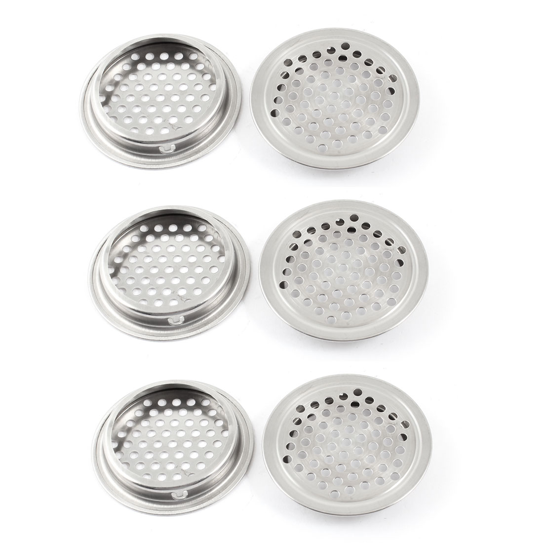 Kitchen Hardware Louver 52mm Bottom Dia Metal Round Design Air Vent 6 Pcs
