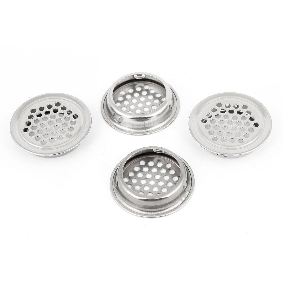 4 Pcs Silver Tone Kitchen 42mm Upper Dia Metal Mesh Air Vent Louver