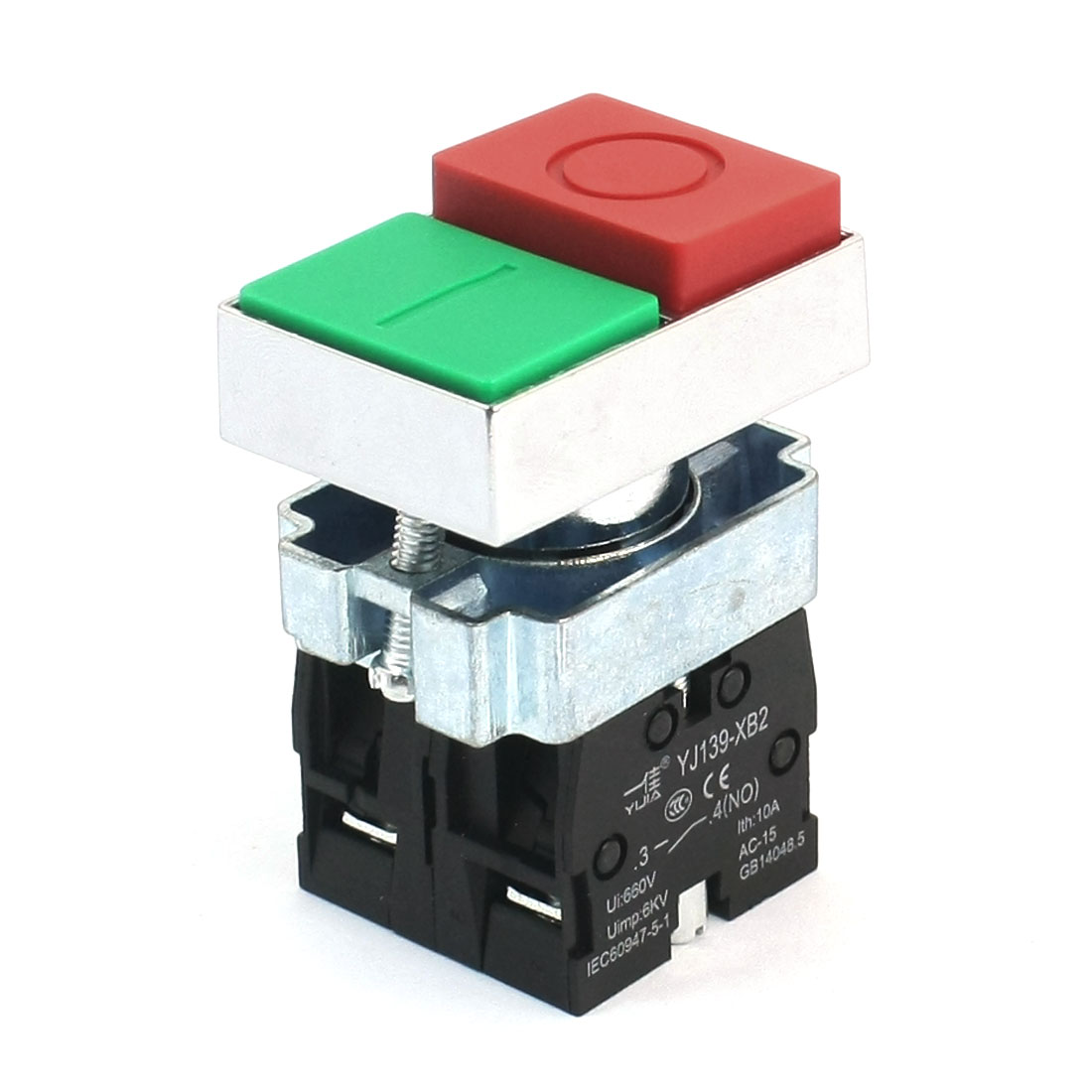 4-Terminals O/I Red Green Buttons DPST Momentary Button Switch 660V 10A