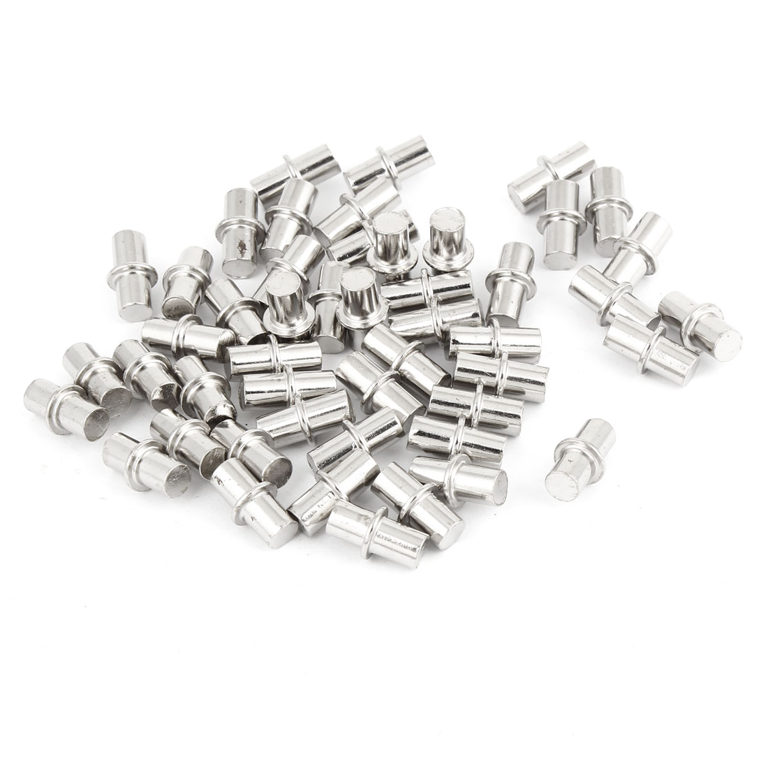 50PCS Furnitures Shelf Support Pins Studs Metal Peg Silver Tone