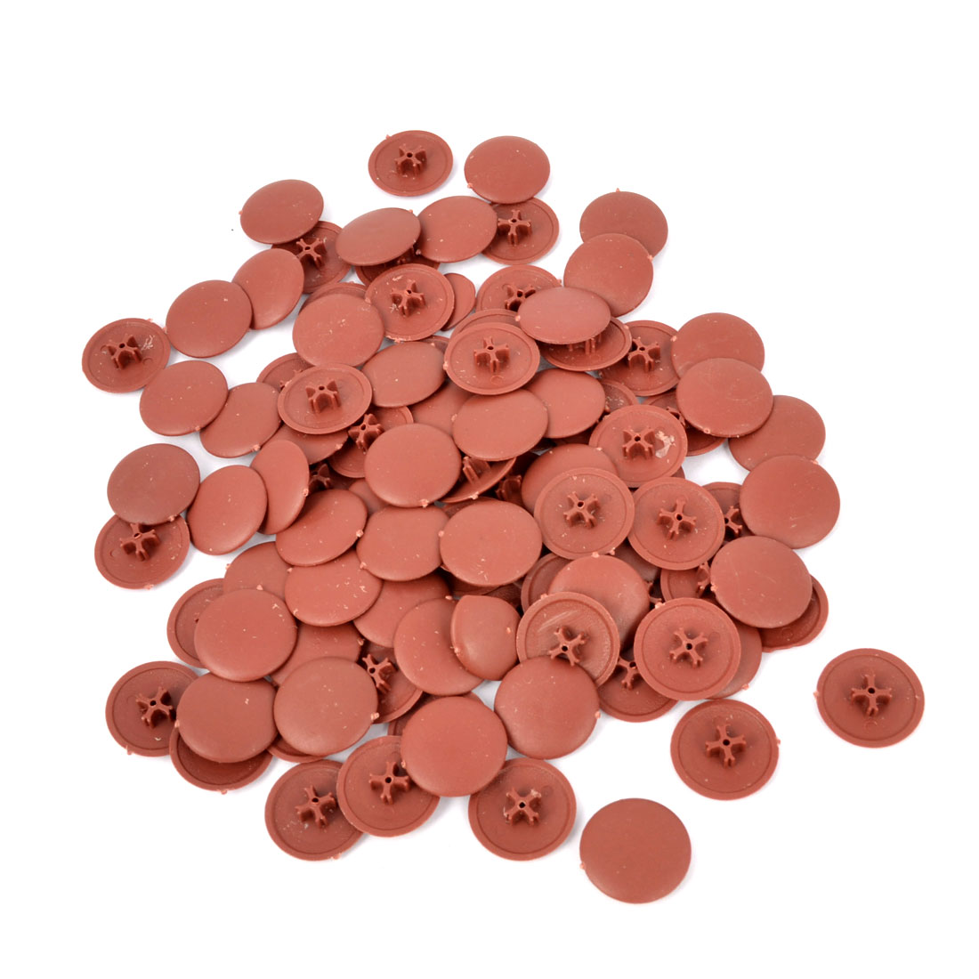 100pcs Press Fit Pozi Phillips Screw Cover Caps Brown