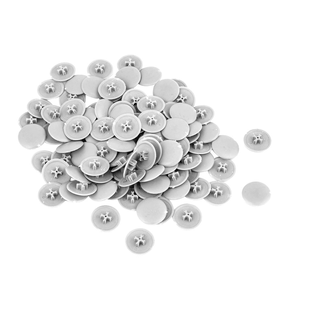 Furniture Desk 17mm Diameter Gray Plastic Mini Cap Cover Insert 100 Pcs