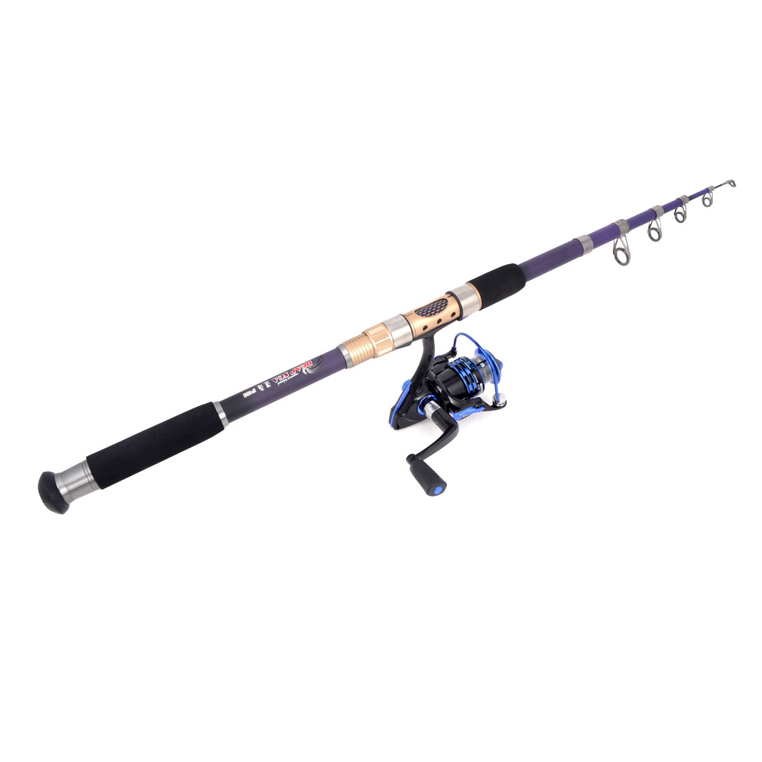 6.6Ft Long Black Purlple Nonslip Handle 6 Sections Fish Rod w Fish Spinning Reel
