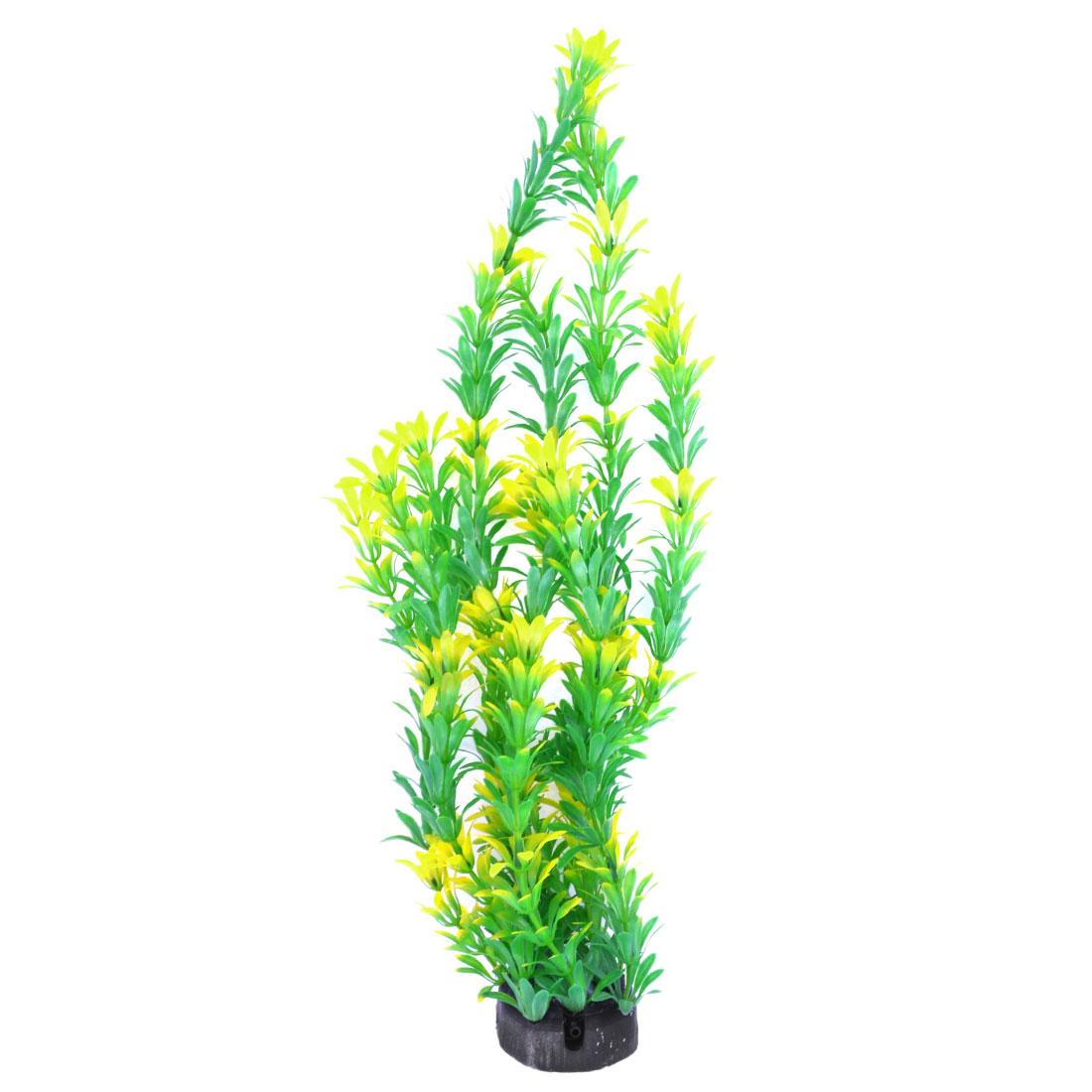 "Aquarium Tank Ceramic Base Yellow Green Plastic Plant Grass Ornament 15.7"""