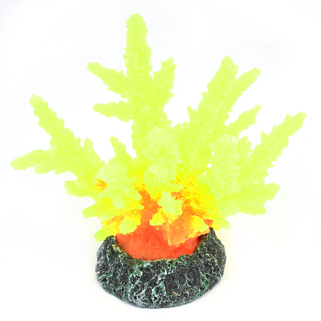 Aquarium Yellow Atificial Emulational Silicone Coral Adorn w Ceramic Base