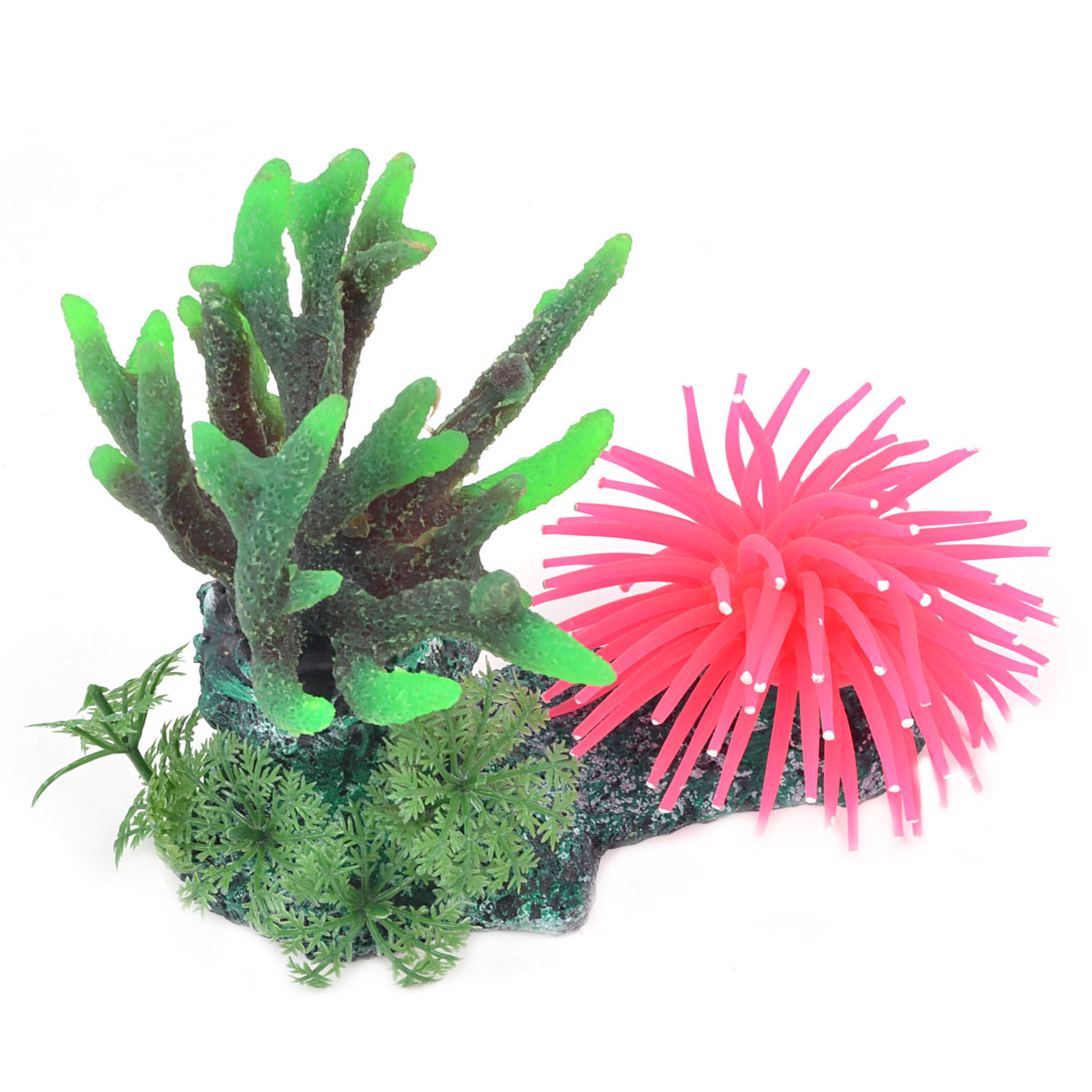 "2.6"" Height Green Fuchsia Emulational Silicone Coral Ornament for Aquarium"