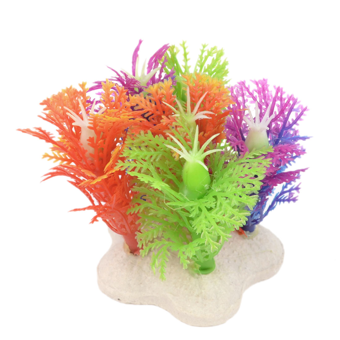 "Aquarium Colorful Plastic Small Aquatic Plant Ornament 2"" High"