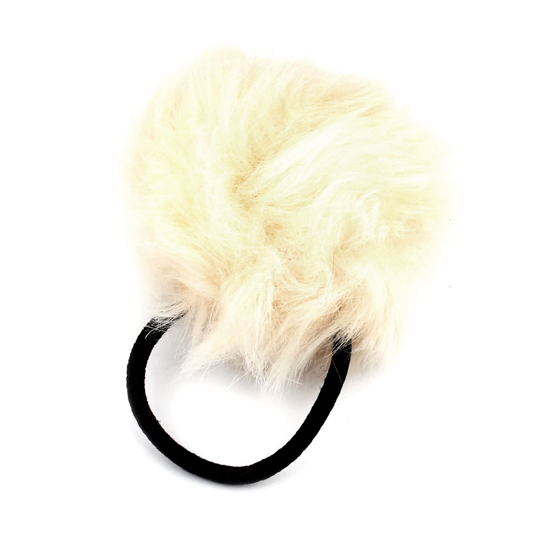 Off White Pompom Design Elastic Rubber Hair Tie Ponytail Hairband