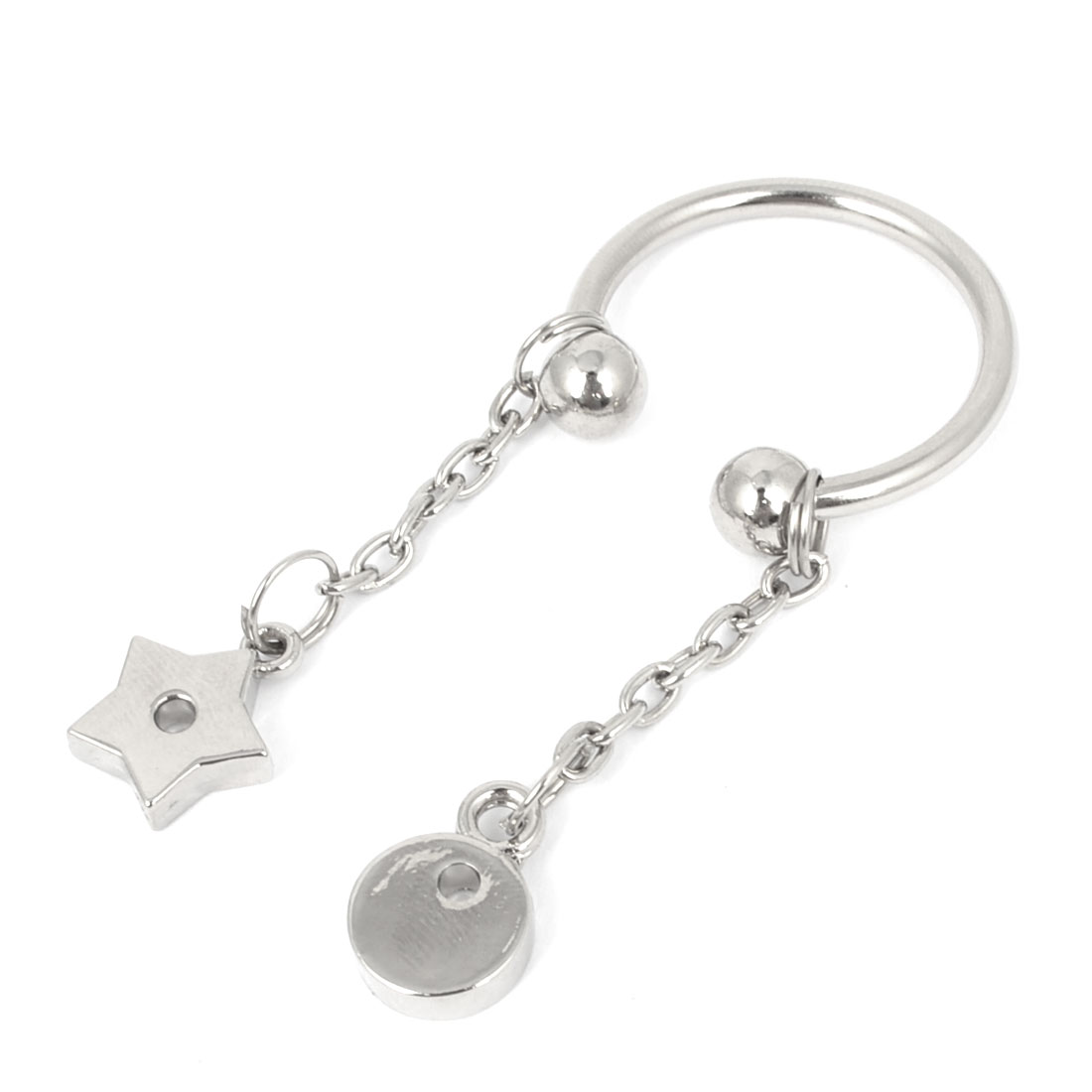 Portable Five Pointed Star Moon Shape Adjustable Split Ring Screwball Keychain