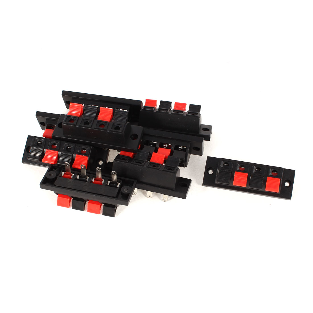 10Pcs 4 Terminals Spring Speaker Binding Post Terminal Board Red Black