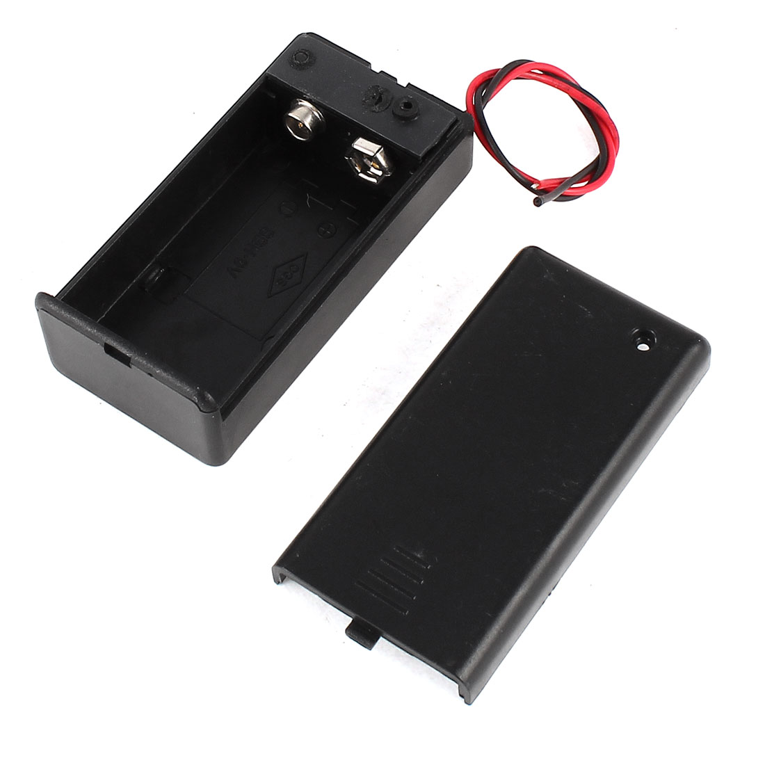 Black Plastic 9V Battery Holder Storage Case ON/OFF Switch w Cap