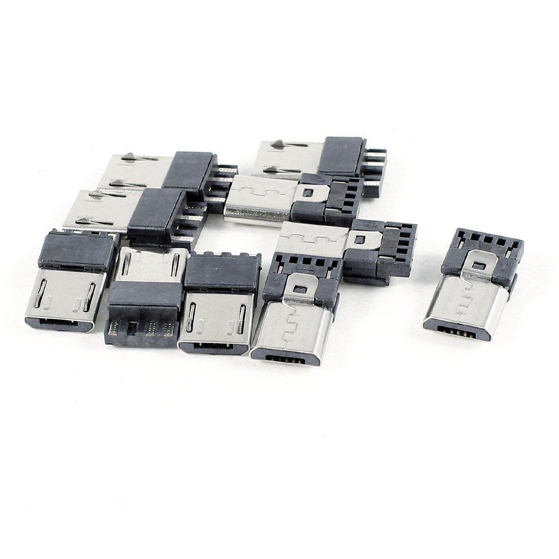 10 Pcs Micro USB 5 Pin Male B Type PCB Mounting Jack Port Socket
