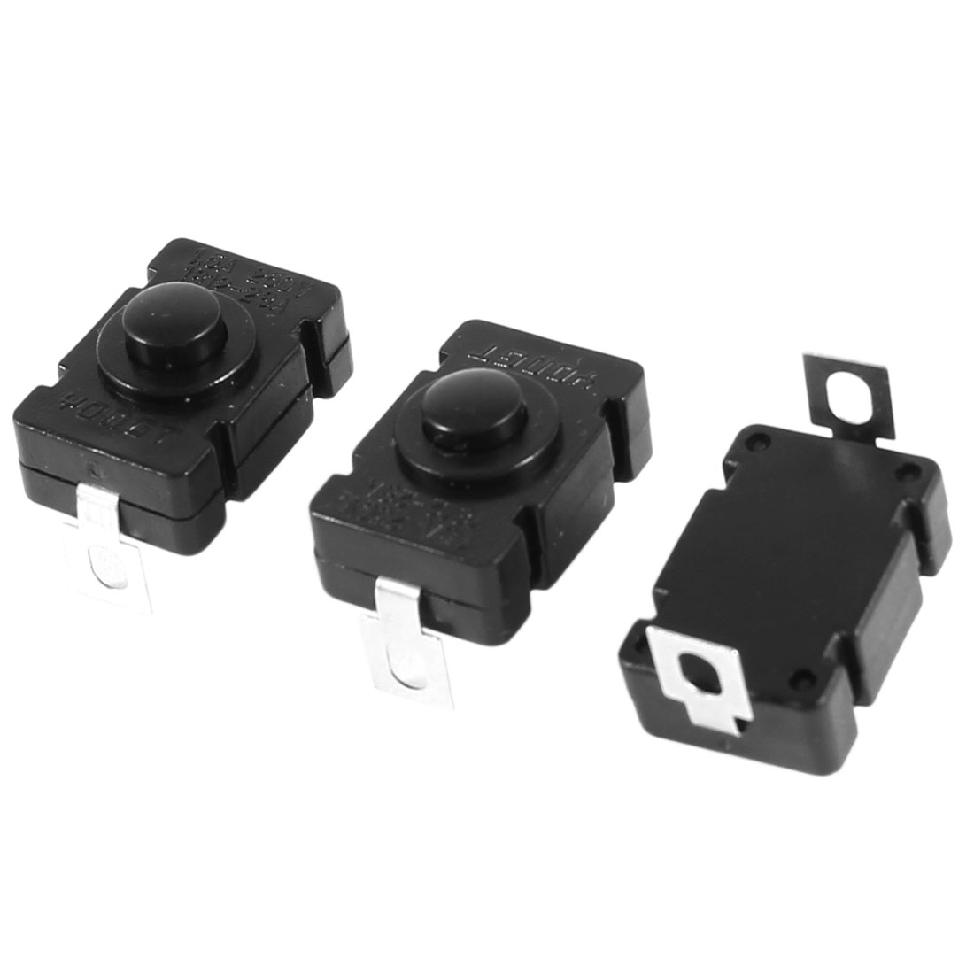 3 Pcs Vertical Latching Rectangular Push Button Switch for Flashlight